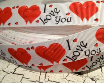 "3 yards 7/8""  I Love You VALENTINE Red HEART Grosgrain Ribbon"