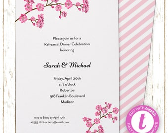 Cherry Blossoms Invitation | Bridal Shower | Printable Editable Digital PDF File | Instant Download | Templett | WSI128DIY