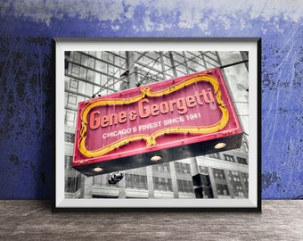 Chicago Sign - Gene & Georgetti Sign - Photography Print vintage sign photo
