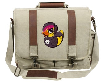 Emo Duckie Embroidered Canvas with Leather Accents Premium Laptop Bag