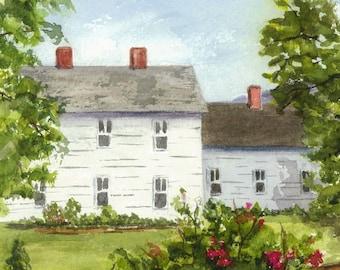 Original Landscape Painting, Watercolor Painting, White Farmhouse, New England Landscape Painting,  5x7, Artwork, Watercolor Landscape