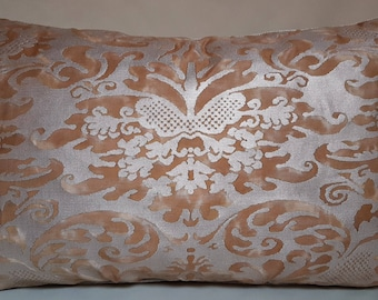 Fortuny Lumbar Throw Pillow Cushion Cover Sevigne Warm French Brown & Gold Pattern - Made in Italy
