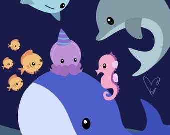 Octopus Birthday Party - Medium or Small Art Print