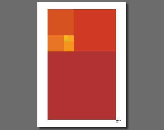 Fibonacci Heat [mathematical abstract art print, unframed] A4/A3 sizes