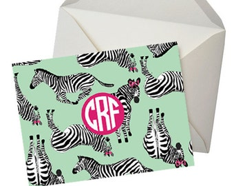 Personalized Note cards - Zebra Folded Notecards - Set of 10 - Monogram thank you cards - Monogrammed Stationery, Gifts for Her