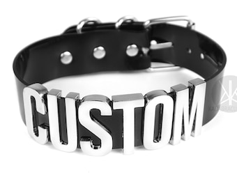CUSTOM Choker XL | Wide Choker Collar | Faux Leather PVC | Custom Name Collar | Custom | Bondage | Letters | Safe Word Choker | Shop Kadabra
