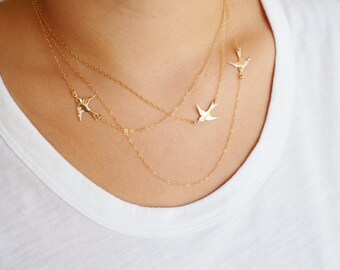 Flying Birds Necklace, Three Layered Necklace, Available in Sterling Silver, Gold Filled and Rose Gold Vermeil