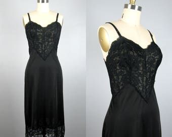 Vintage 1950s Black Slip 50s Black Nylon and Lace Dress Slip by Vanity Fair Size 36 Tall