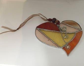 Glass Heart Hanger - yellows reds & browns
