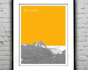 20% OFF Memorial Day Sale - St. Lucia Poster Skyline Art Print The Pitons Lesser Antilles Caribbean