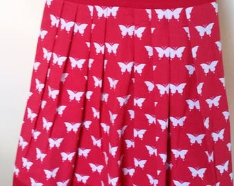 Red Butterfly Apron,Red and White Apron, Reversible Butterfly Apron, Valentines Day Apron, Cooking Apron, Womans Apron, Half Apron