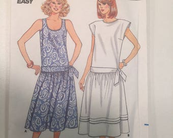 Size 6-8-10 Vintage Misses Pullover DRESS Butterick #3813 Fast & Easy