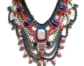 CORAL MILITARY hand painted coral, blue cream and khaki statement bib rhinestone necklace