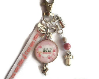 "Keychain bag charm / GODMOTHER gift / ""Will you be my godmother?"" /Les wonders faby/party / christening gift"