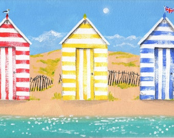 Beach Huts Original Acrylic Painting on deep edge canvas 30 x 15cm