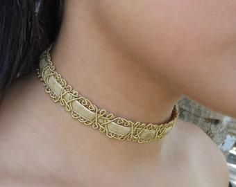 Choker Necklace, Patterned Choker Necklace, Bohemian Velvet Choker, Bohemian Jewelry, Gold Choker, Leather Choker, Women Vintage Jewelry