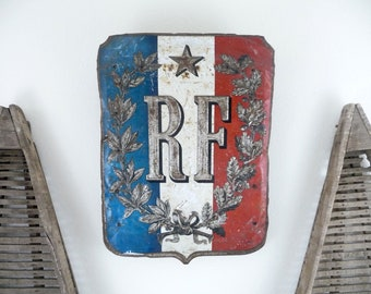 Vintage French Sign, Antique Metal Sign, French Flag Holder, French Flag Industrial Sign, French Wall Decor