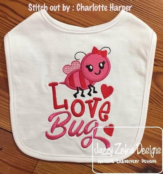 Love Bug bee Valentines Day appliqué embroidery design - love bug appliqué design - Valentines day appliqué design - bee appliqué design