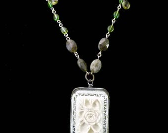 Carved Rose Tin Necklace, N0163