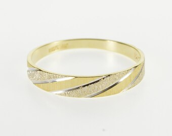 10K Textured Two Tone Twist Patterned Band Ring Size 10.25 Yellow Gold