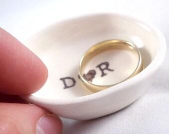 valentine gift - custom ring dish - CUSTOM RING HOLDER white ceramic ring holder dark brown personalized text gift engagement bridal shower