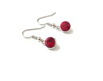 Birthstone earrings,  red earrings,  July earrings,  silver earrings,  birthstone jewelry, ruby earrings