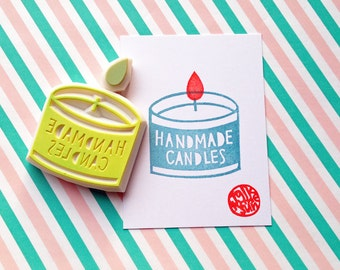 handmade candles rubber stamp | candle container & flame | packaging for candle maker | card making | hand carved by talktothesun | set of 2