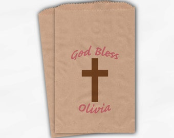 Baby Girl Christening Favor Bags - Baptism or Religious Party Custom Favor Bags - 25 Kraft Paper Treat Bags (0030)