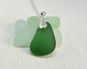 Sea Glass Necklace Sterling Silver, Seaglass Jewellery UK,  Gift For Wife, Anniversary Gift For Wife, Sea Glass Jewelry, Beach Gift