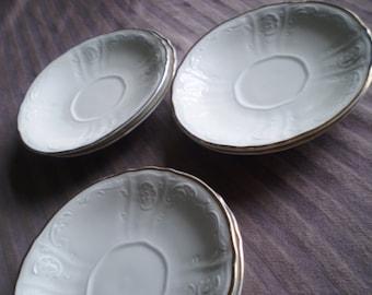 White Dessert Plates with Gold Edge - Set of 6