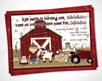 Down on the Farm Birthday Invitation - Red - DIY Printable