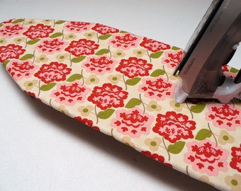 Ironing Board Cover TABLE TOP - retro flowers in pink red and fawn