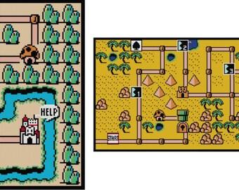 Super Mario Bros. 3 World Maps 1-8 Bundle (PDF Instant Download)