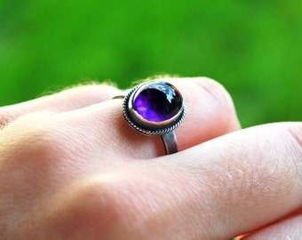 Sterling Silver and AA Amethyst Handmade Ring size 9.25