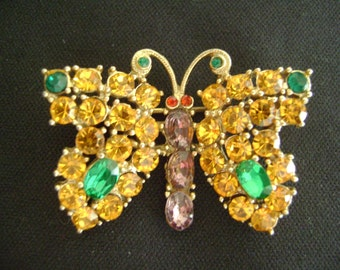 Vintage Butterfly Brooch with Colorful Rhinestones