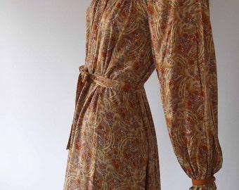 Wallis vintage 1970s cinnamon orange floral print bishop sleeve midi dress