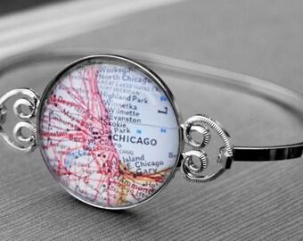 Chicago Vintage Map Bracelet