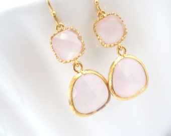 Pink Earrings, Glass Earrings, Gold Earrings, Ice Pink, Light Pink, Wedding, Bridesmaid Earrings, Bridal Earrings Jewelry, Bridesmaid Gifts