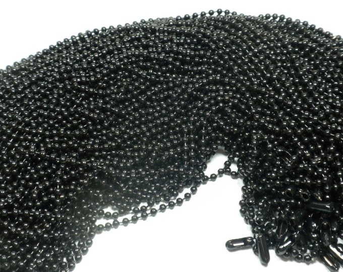 Black Ball Chain Necklaces - 24 inch - 2.4mm Diameter - Set of 25
