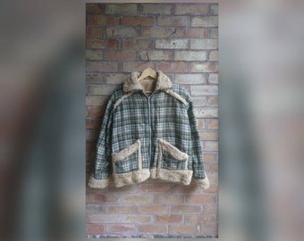 Vintage checked bomber jacket with Shearling trim