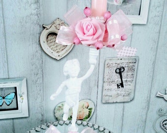 Angel pink cottage shabby chic candlestick