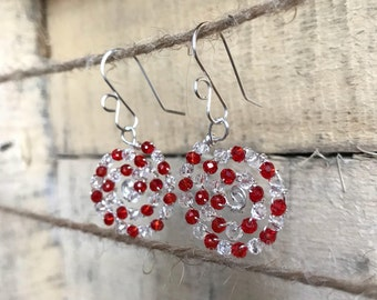 Red and clear crystal spirals