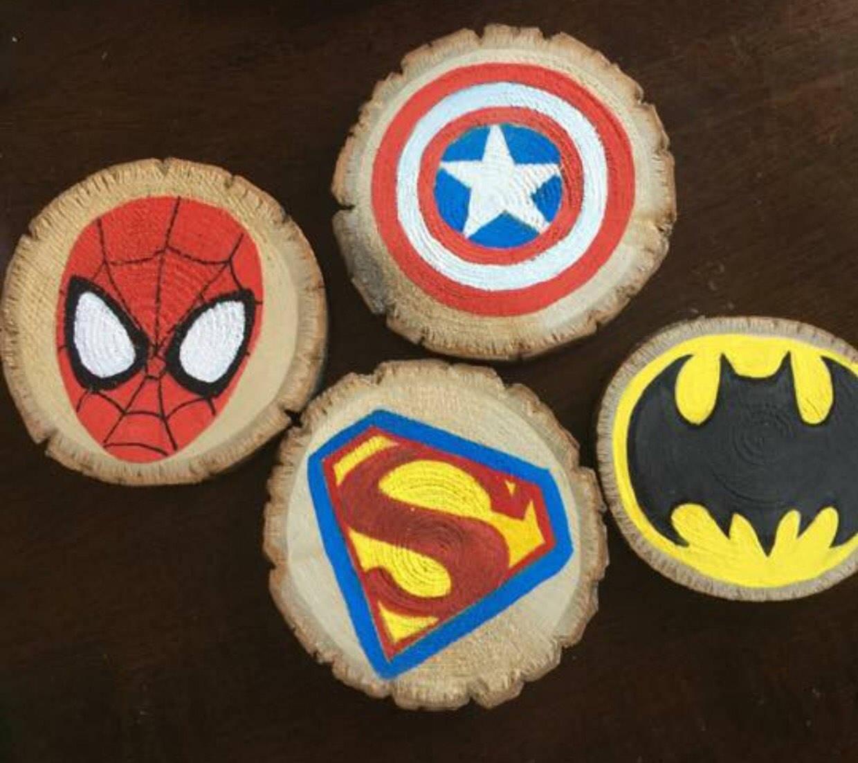 Superhero hand painted wood coasters, spiderman, batman, superman, Captain America, painted rocks