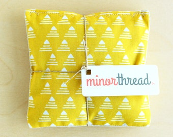 Organic Lavender Sachet Set in Golden Yellow Pyramid Print Cotton and Linen Handmade Hostess Gift - 2 Sachets Natural Home Mother's Day Gift