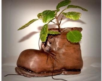 Boot shaped flowerpot (Wall-E inspired)