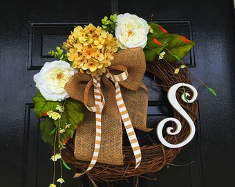 Personalized wreath for summer, summer wreath, spring door wreath, wreath for door