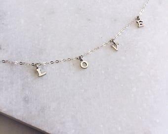 Silver LOVE Necklace, Sterling Silver, Delicate Necklace, Prom, Dainty Necklace, Initial Necklace, Silver Initial, Name Necklace