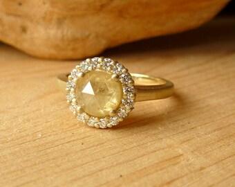 Prong Set Rose Cut Diamond Ring with Halo - Deposit