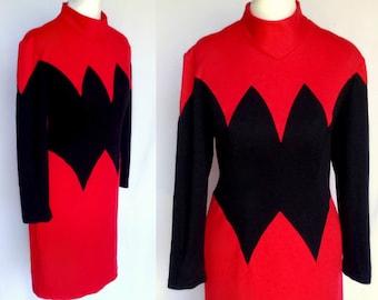 Vintage 70s 80s Red & Black Avant Garde Color Block Space Age Mod Scooter Shift Dress Medium