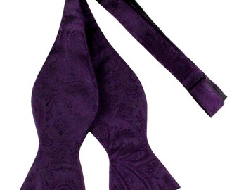 New Men's Paisley Dark Purple Self-Tie Bowtie, for Formal Occasions